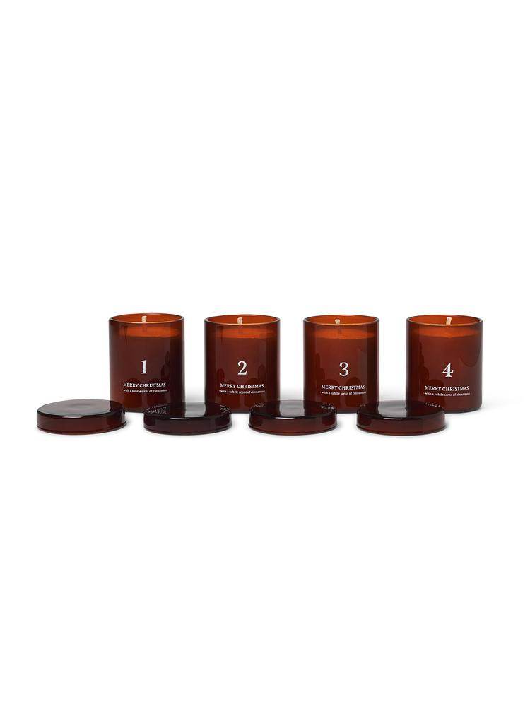 Ferm Living - Scented Advent Candles Set of 4 - Red Brown (1104263200)