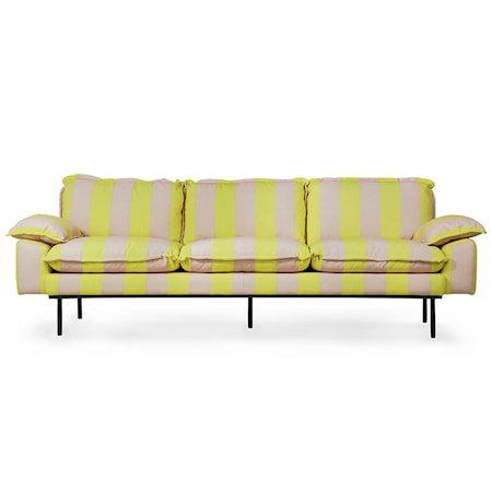Retro Sofa 4-seter Striped yellow/Nude