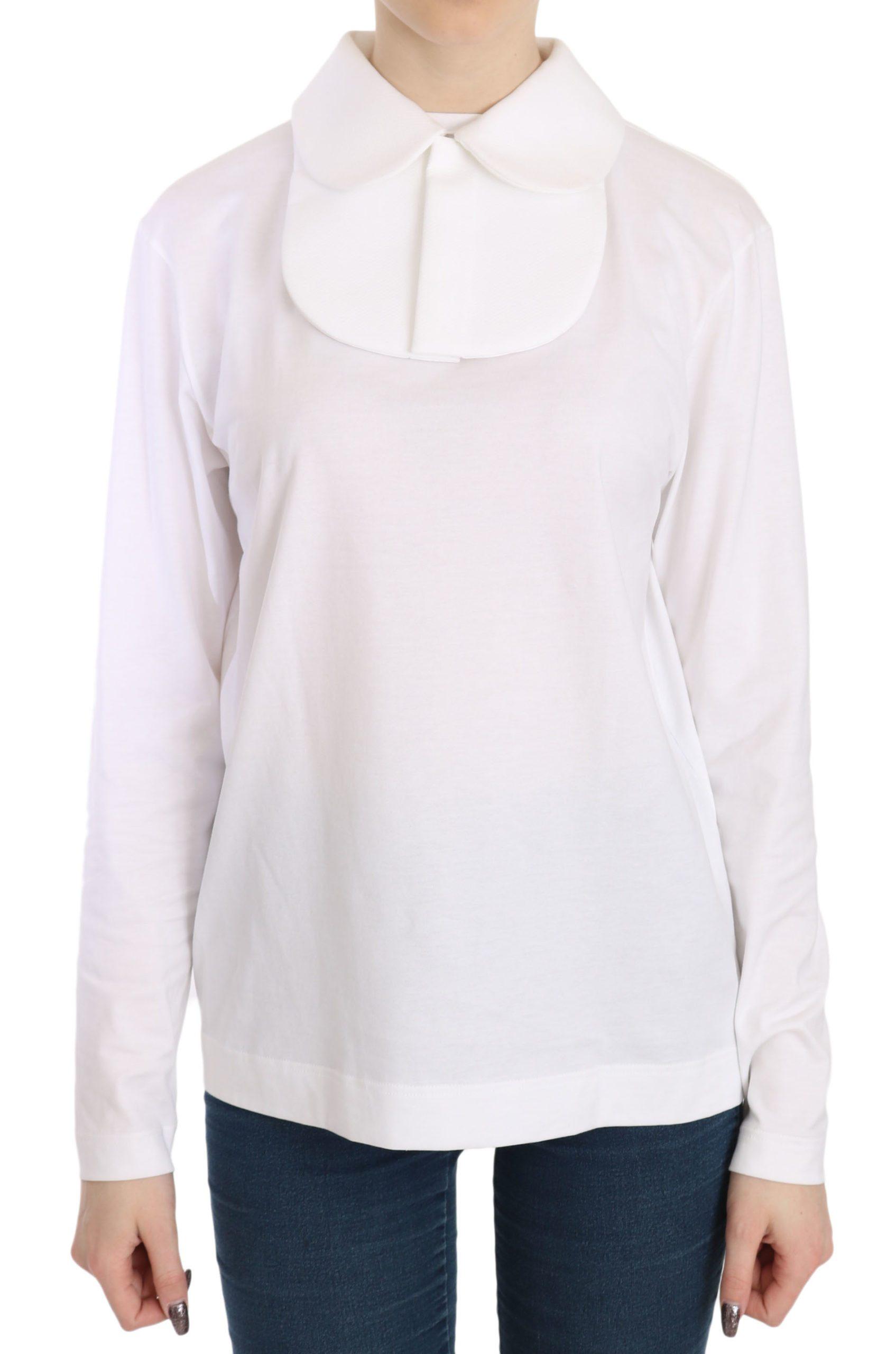Dolce & Gabbana Women's LS Collared Top White TSH3657 - IT40 S