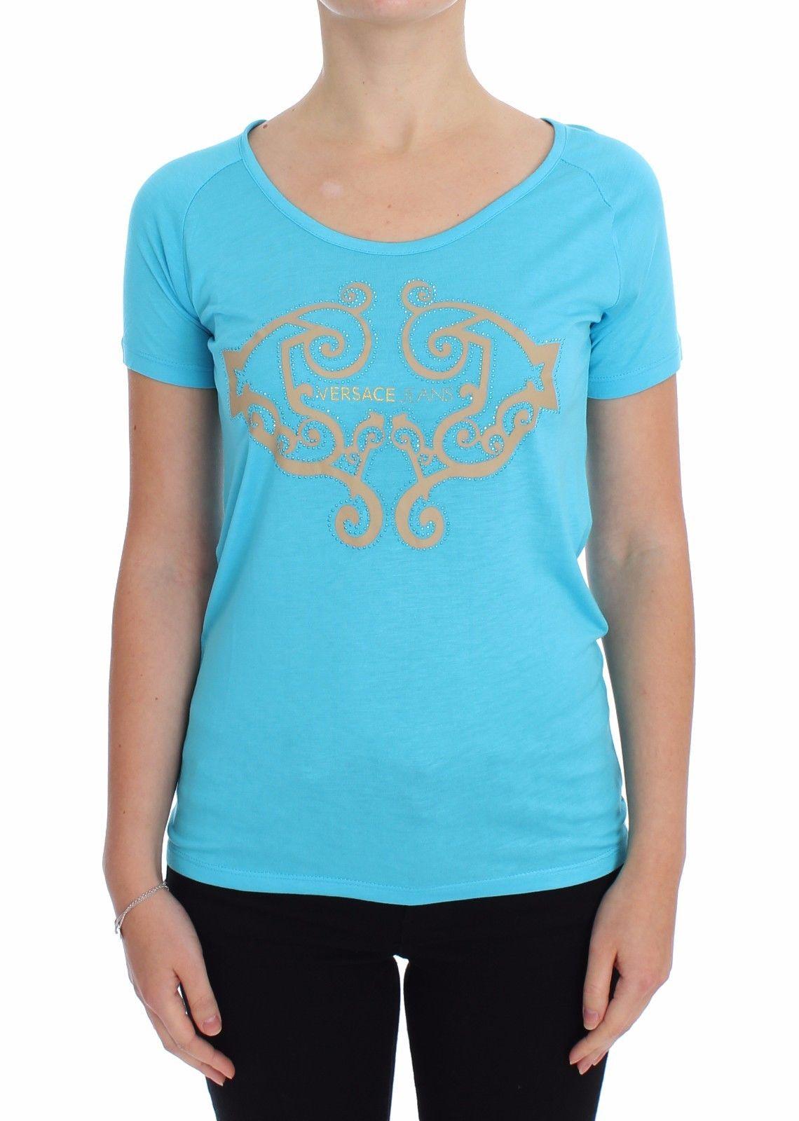 Versace Jeans Women's Crew-Neck Studded T-Shirt Blue - IT38|XS