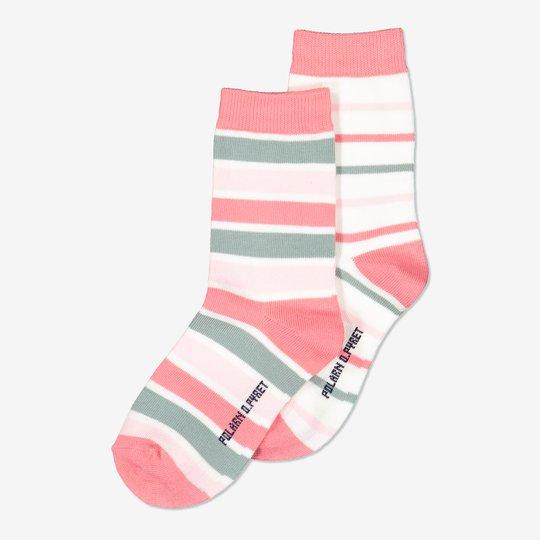 2-pakning stripete sokker rosa
