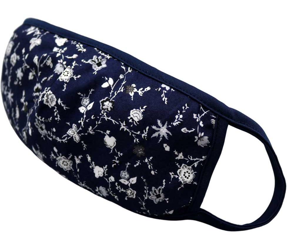 Bomull Ansiktsmask, Hvite blomster på blå, Blå, Floral