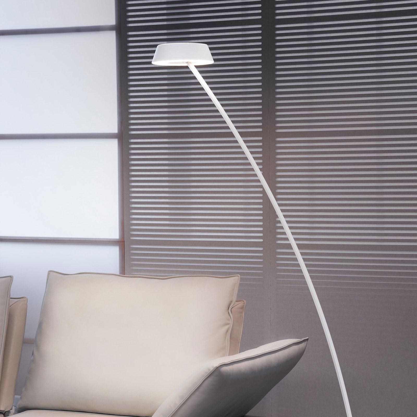 OLIGO Glance LED-gulvlampe bøyd, hvit matt
