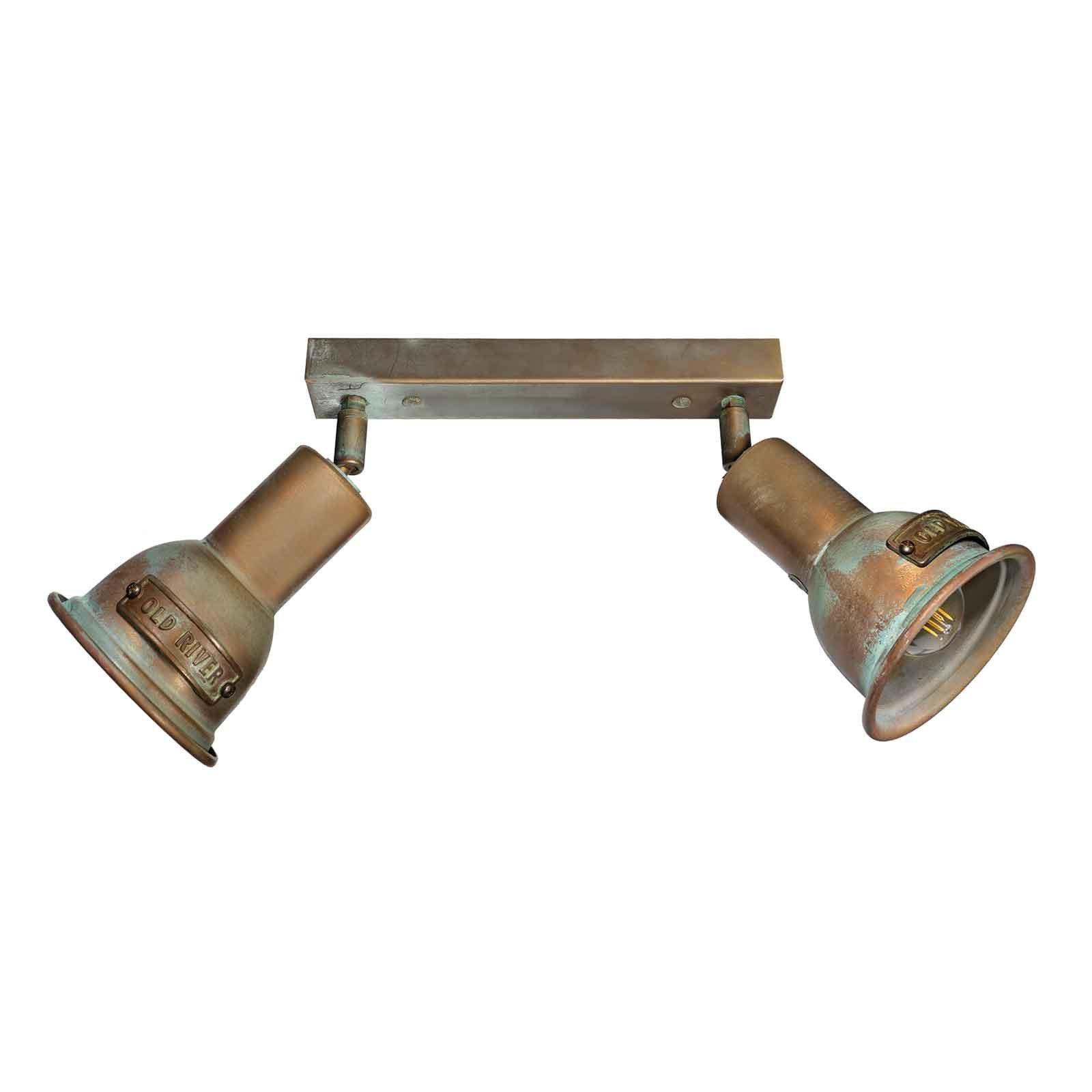 Azali 1548.E27 taklampe 2 lyskilder antikk messing