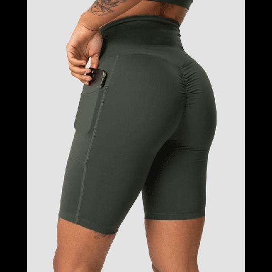 Scrunch Pocket Biker Shorts, Army Green