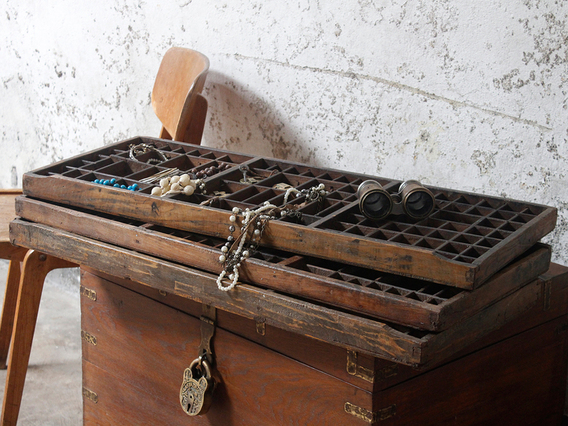 Vintage Printers Tray Letterpress Drawer Mixed Compartments