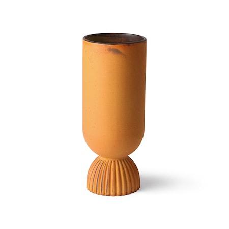 Flower Ceramic Vas Ribbed bas Rustic