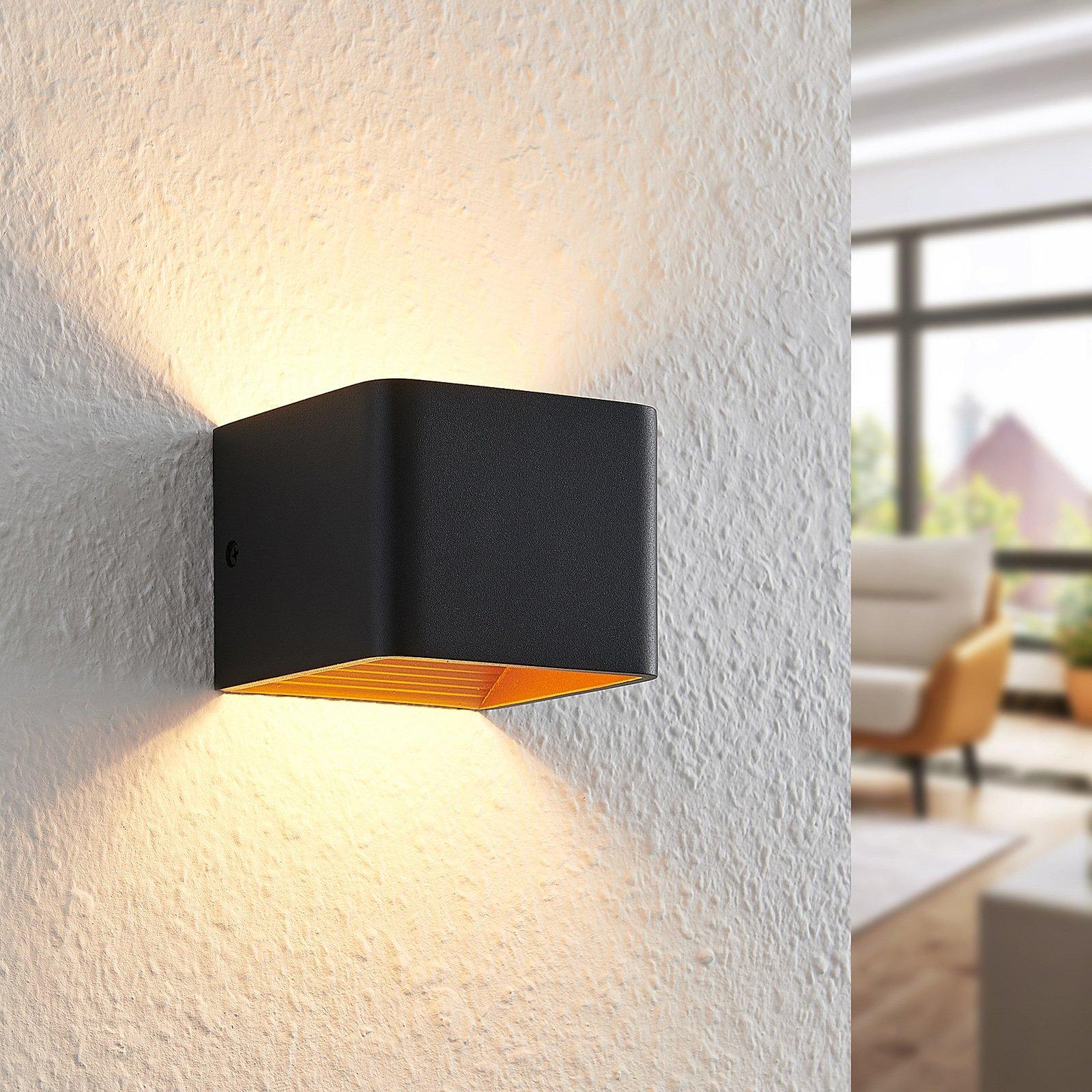 Arcchio Karam LED-vegglampe, 10 cm, svart
