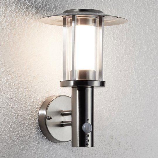 Gregory LED-vegglampe, rustfritt stål, sensor