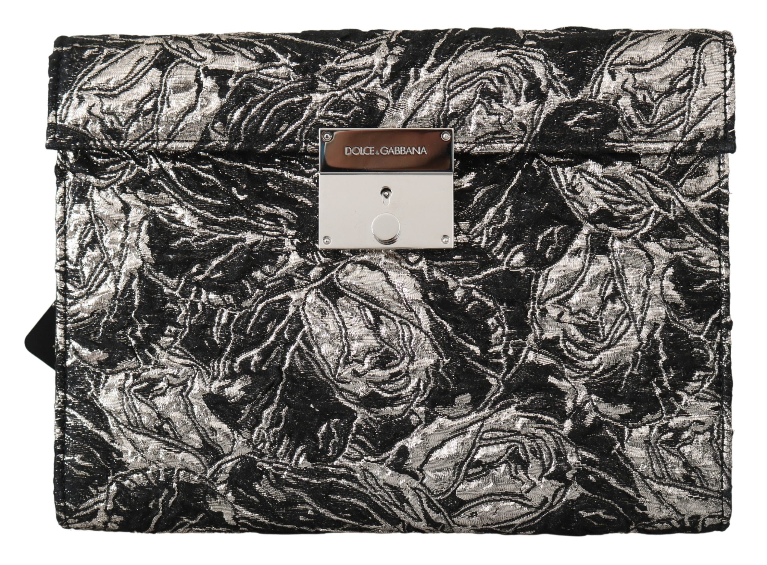 Black Silver Jacquard Leather Document Briefcase Bag