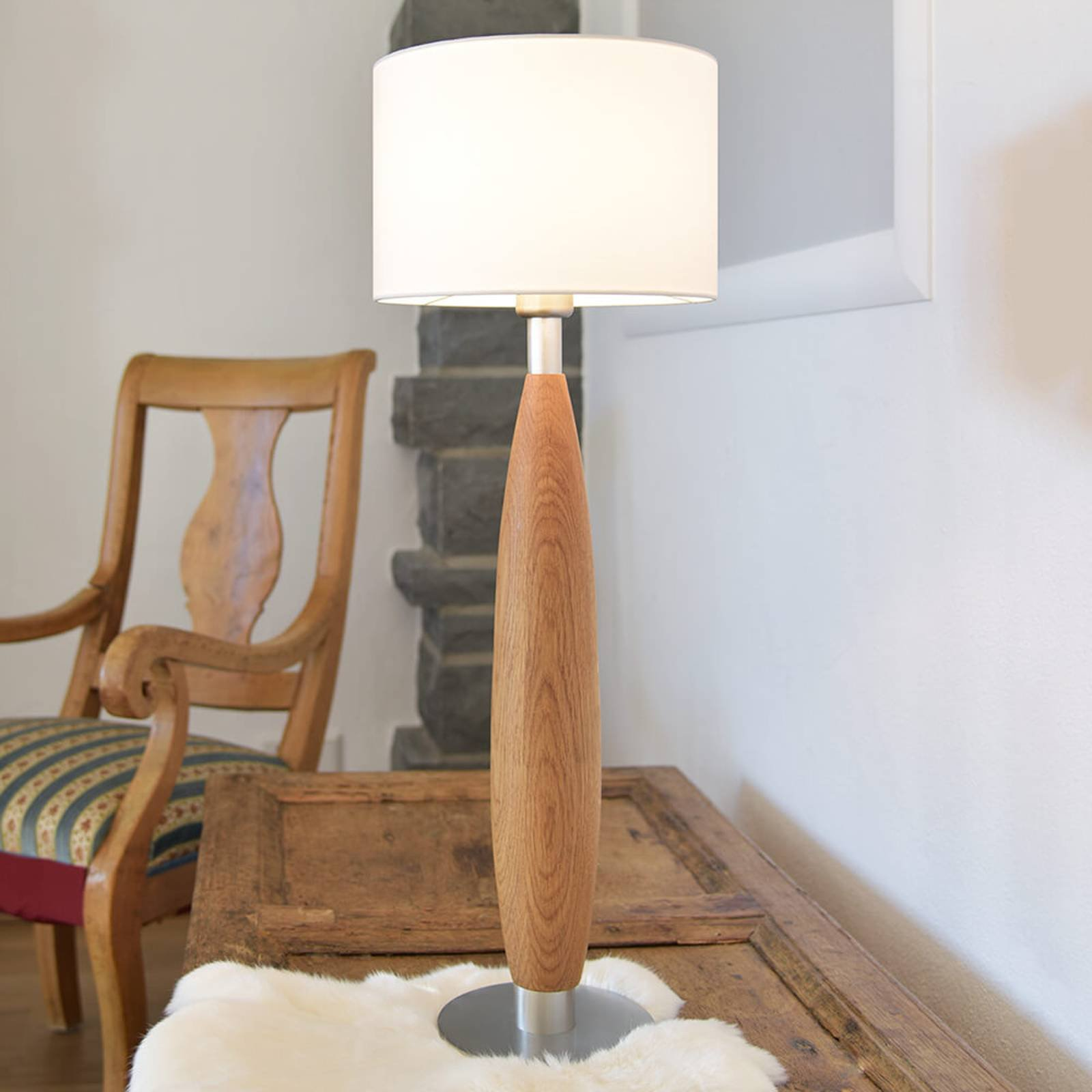 HerzBlut Paula bordlampe av eiketre med tektstil