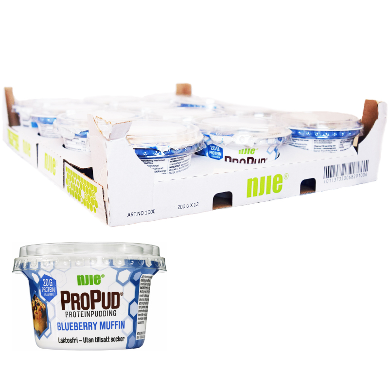 "Hel Låda Proteinpudding ""Blueberry Muffin"" 12 x 200g - 28% rabatt"