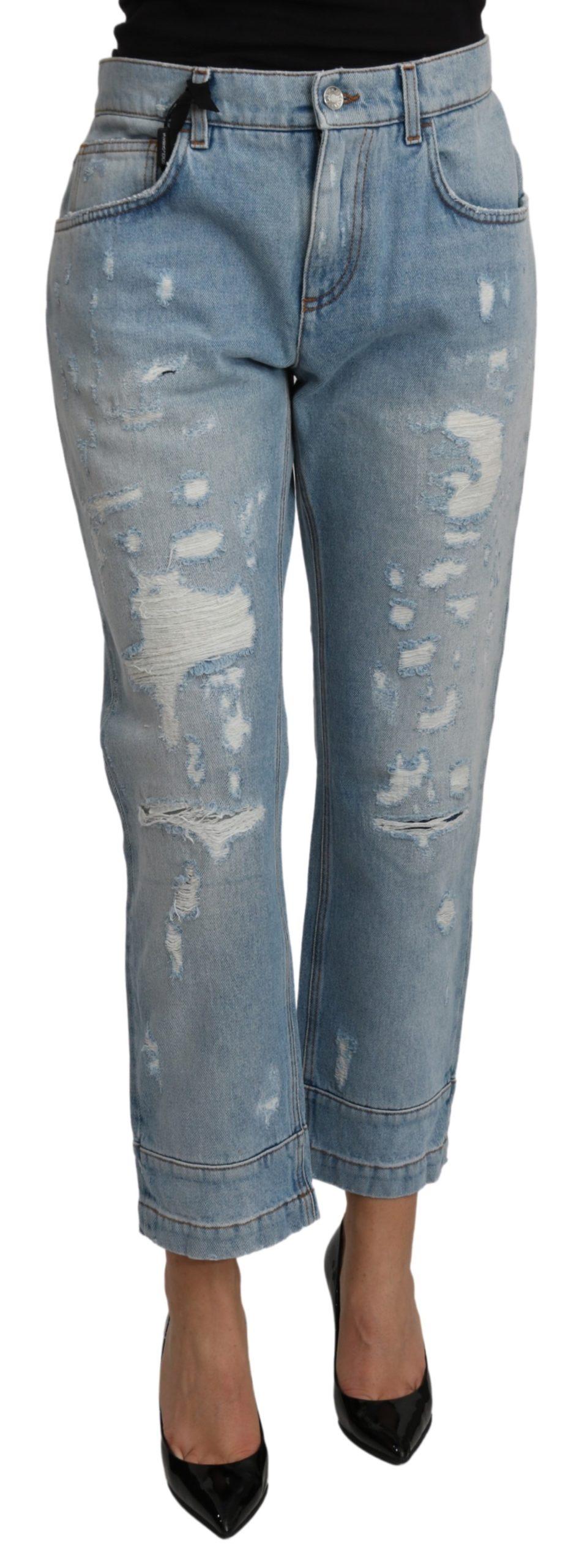 Dolce & Gabbana Women's Ripped Boyfriend Denim Jeans Blue PAN71108 - IT42|M