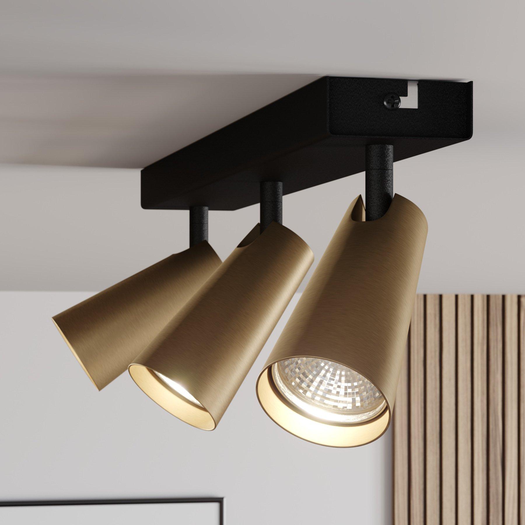 Lucande Angelina taklampe, messing-gull, 3 lysk.