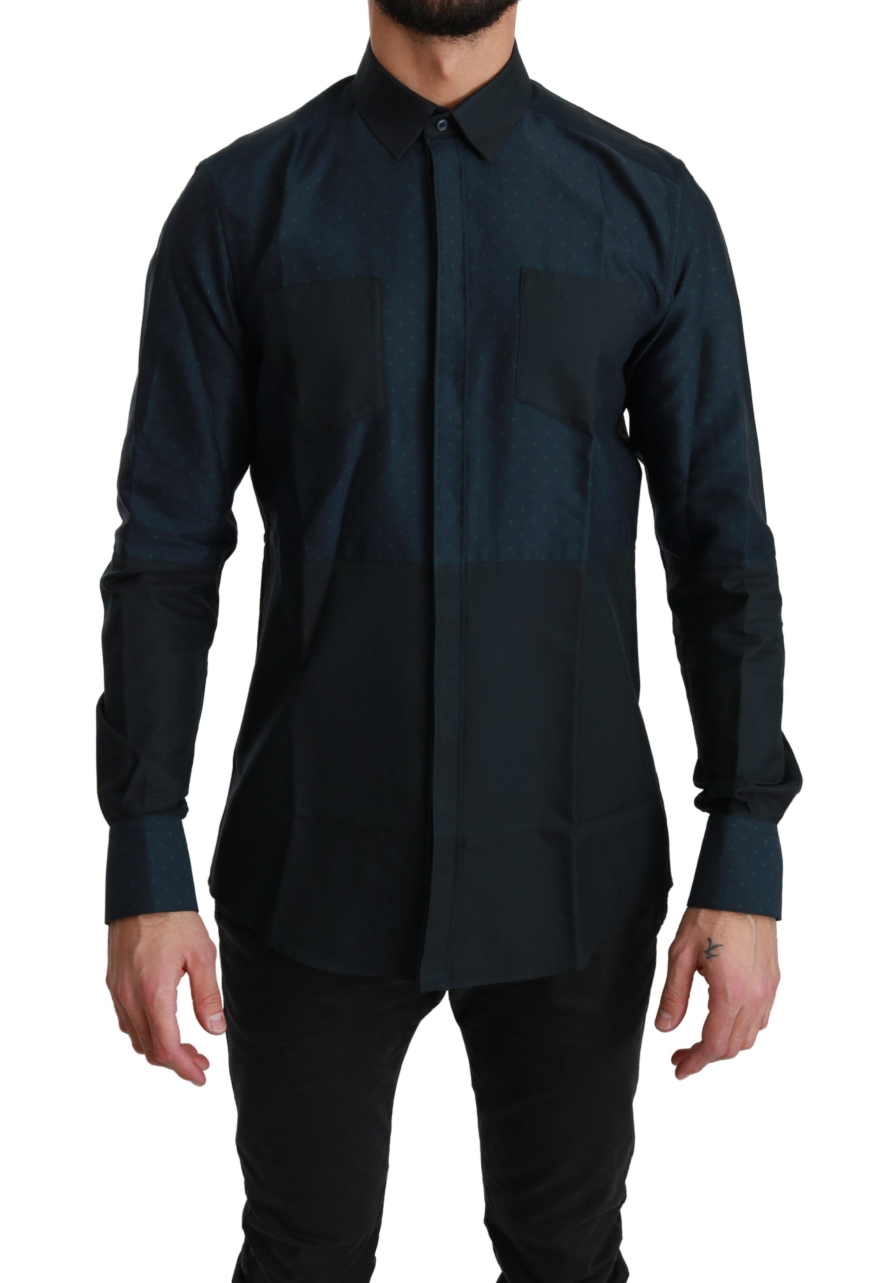 Dolce & Gabbana Men's MARTINI Dot Formal Cotton Shirt Black TSH4506 - IT39 | S