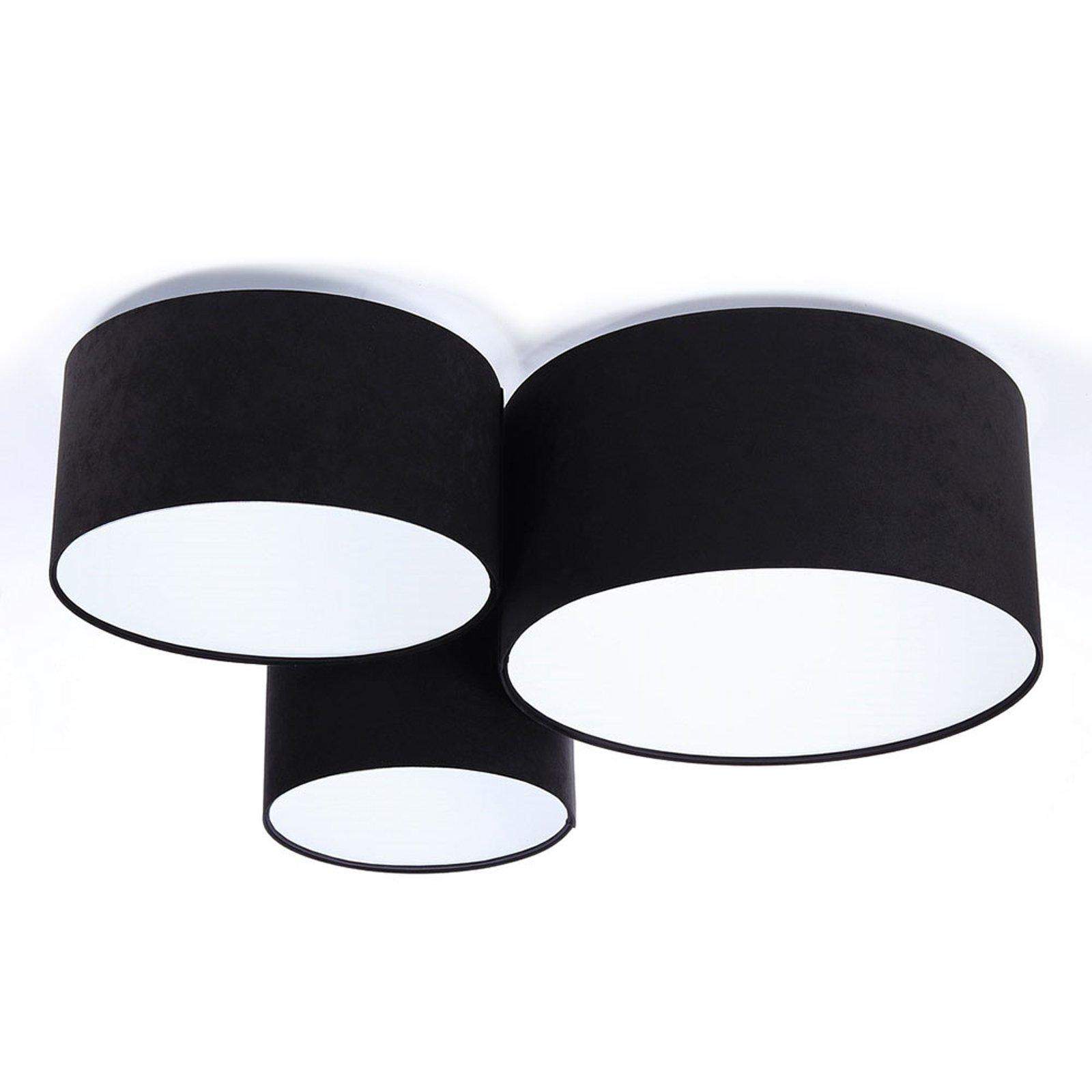 Taklampe 080, tre lyskilder, svart-hvitt