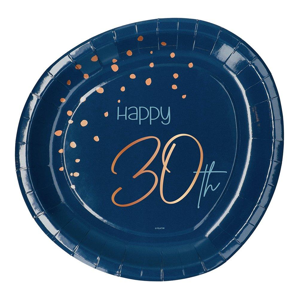 Papperstallrikar Happy 30th True Blue - 8-pack