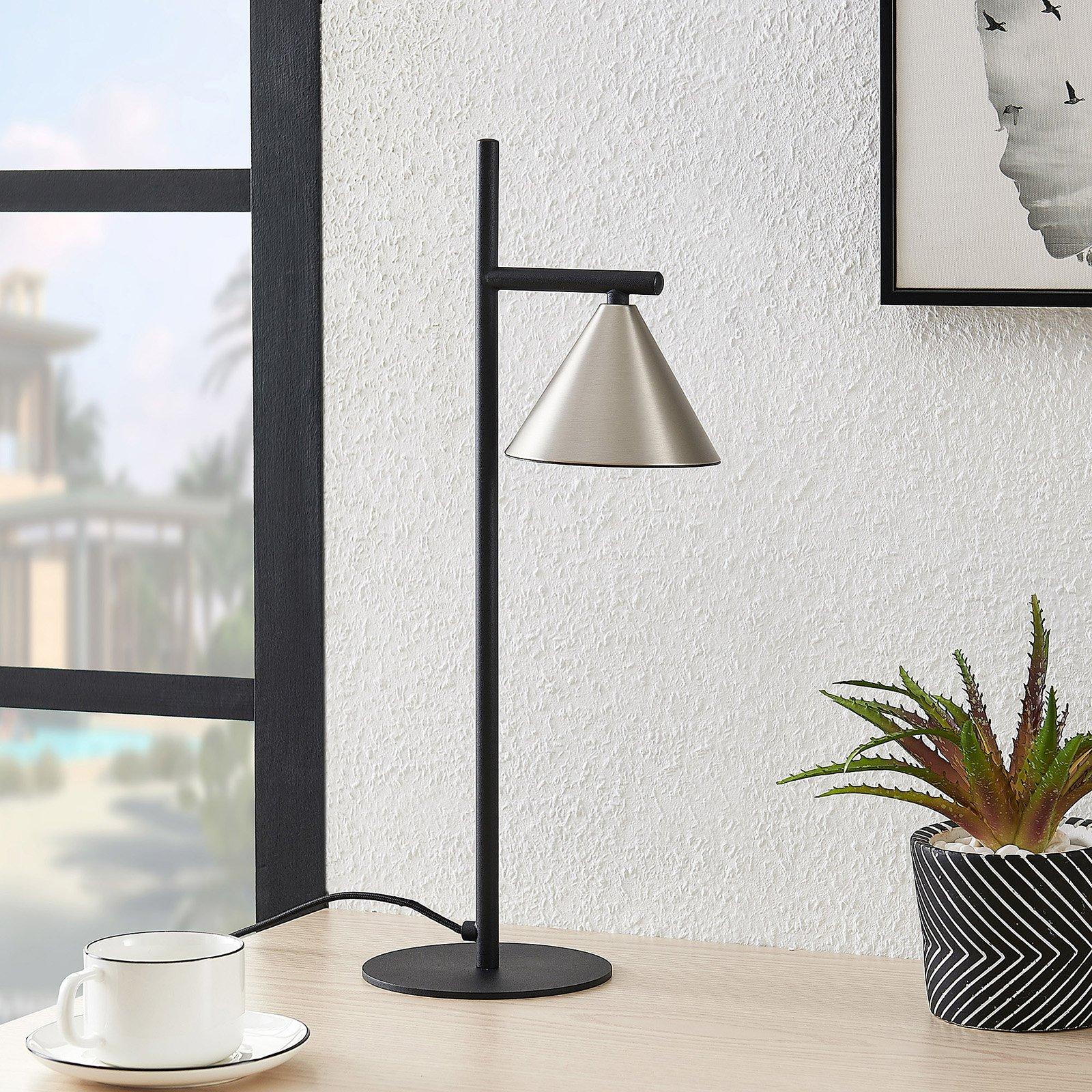 Lucande Kartio bordlampe, nikkel