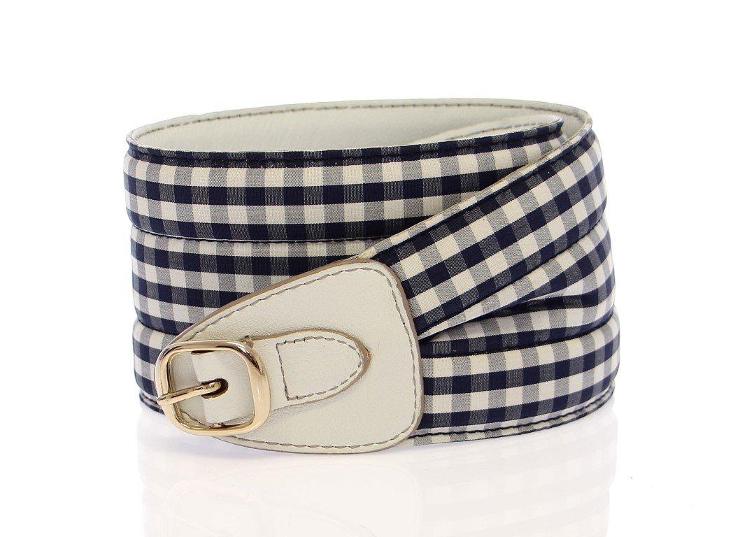 Dolce & Gabbana Women's Cotton Leather Logo Waist Belt Blue BHD10830 - 80 cm / 32 Inches