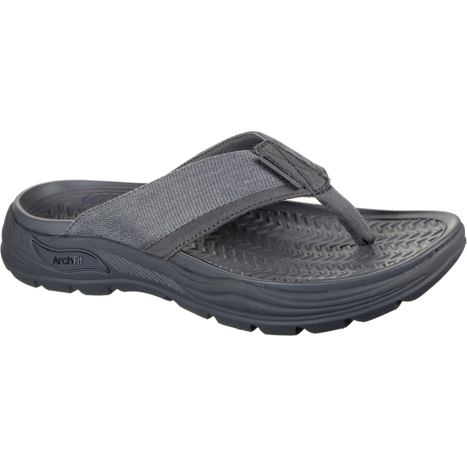 Skechers Men's Arch Fit Motley Dolano Summer Sandal Charcoal 32209 - Charcoal 12