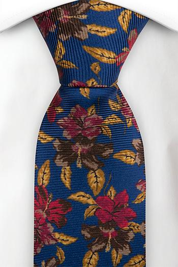 Silke Slips, Flerfargede blomster på koboltblå, Blå, Blomstrete