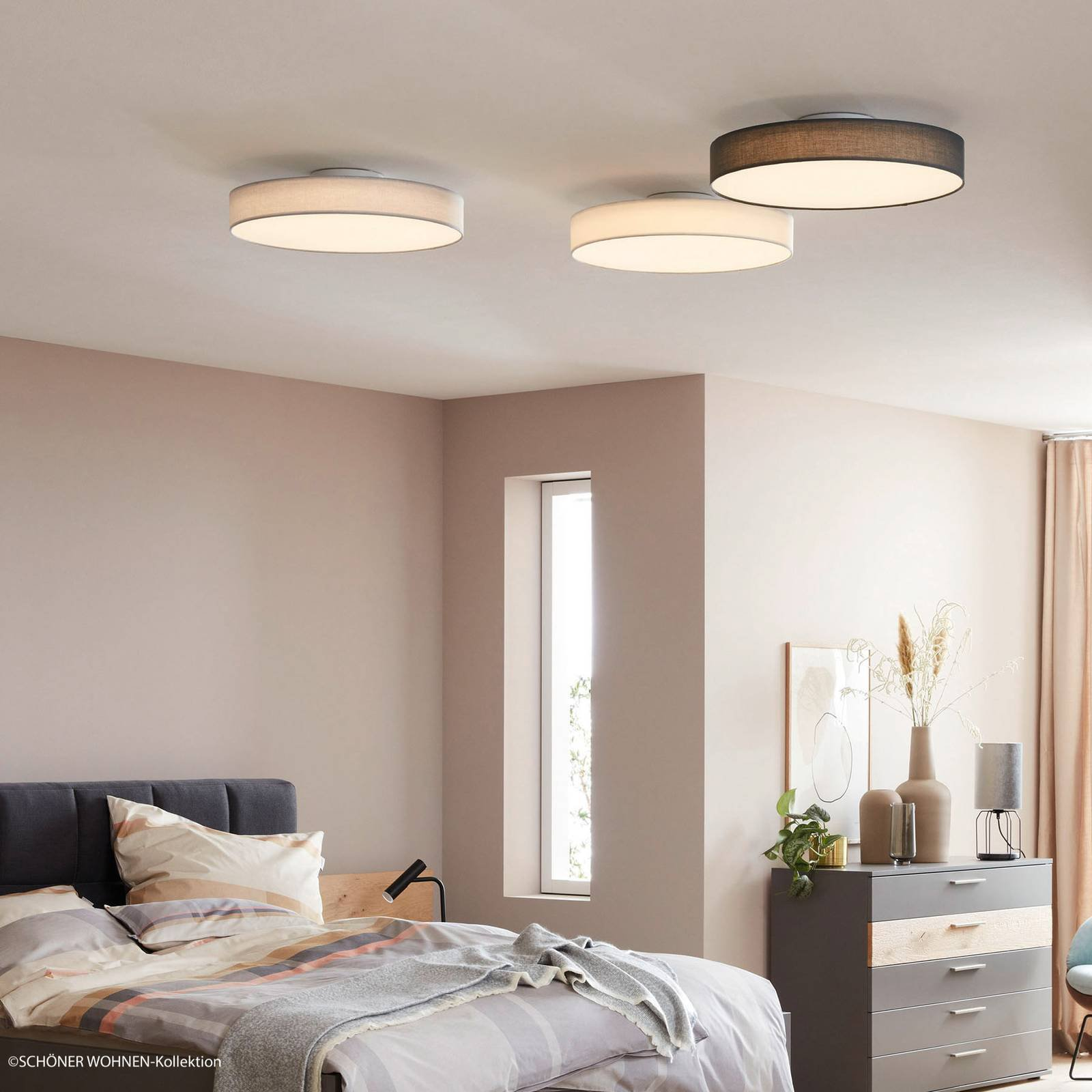 Schöner Wohnen Pina LED-taklampe, mørkegrå