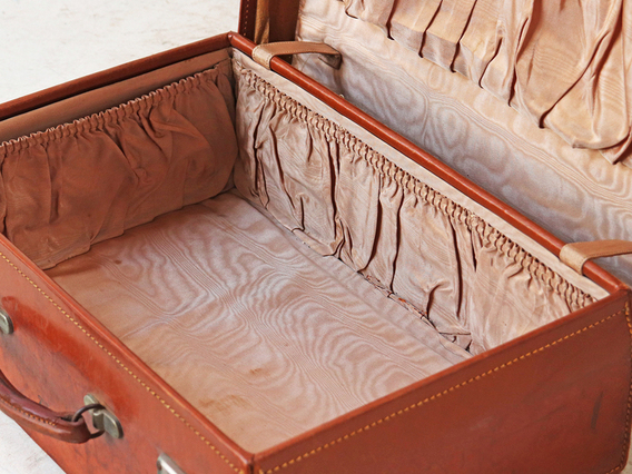 Tan Leather Suitcase Brown