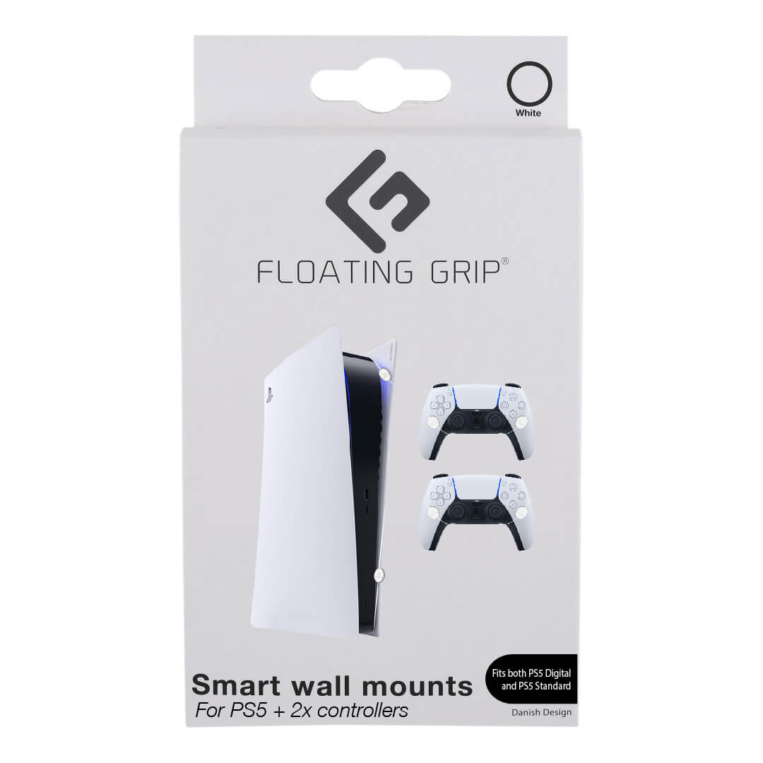 Floating Grip Playstation 5 Wall Mounts by Floating Grip - White Bundle