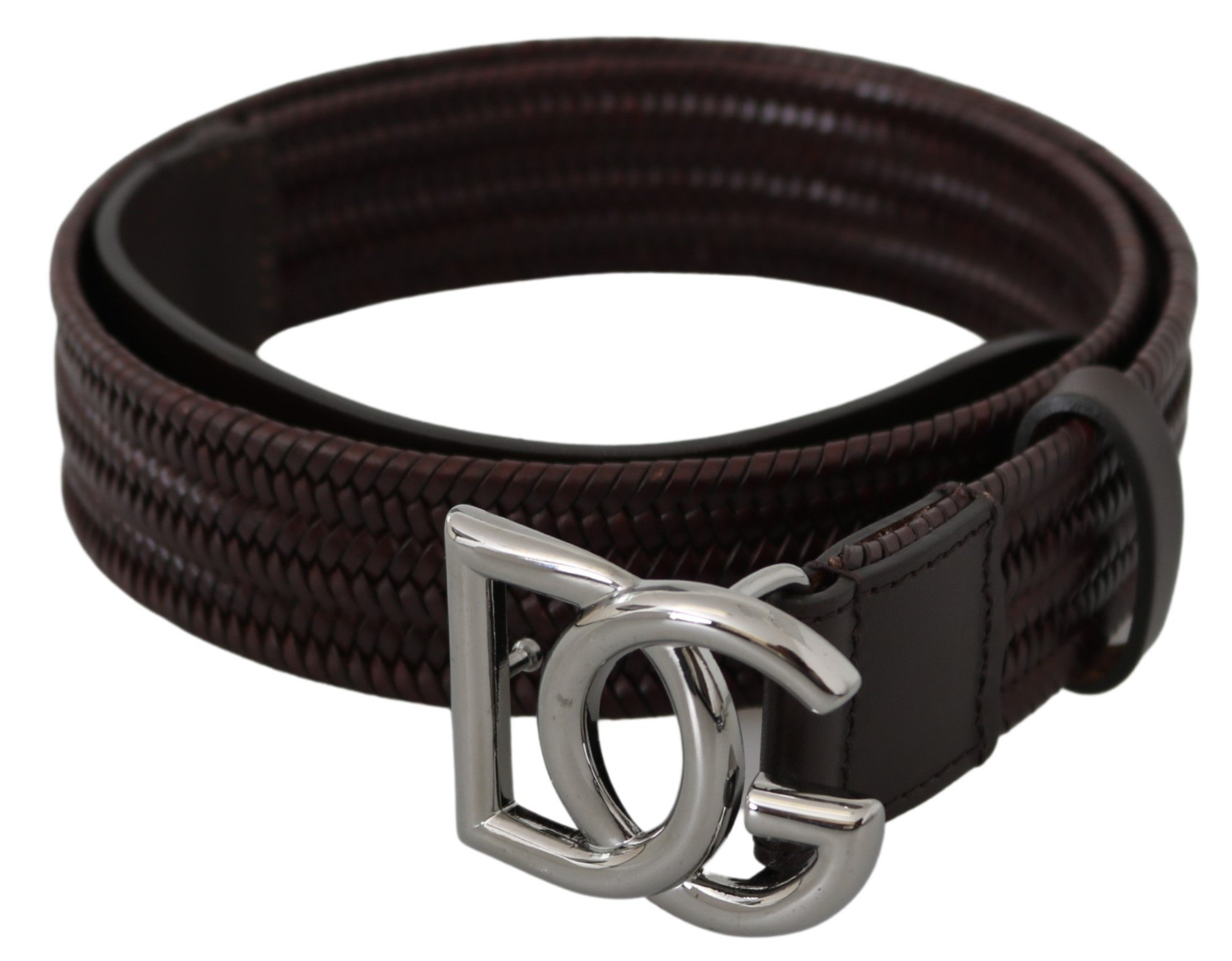 Brown Leather Knitted DG Silver Buckle Belt - 90 cm / 36 Inches