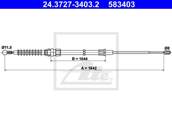 Käsijarruvaijeri ATE 24.3727-3403.2