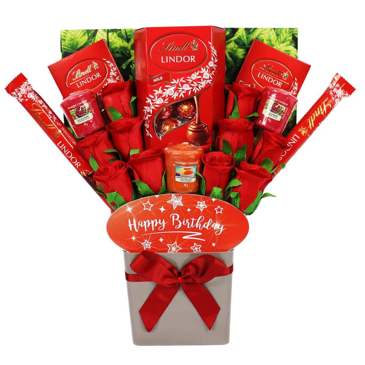 The Happy Birthday Yankee Candle and Red Rose Bouquet