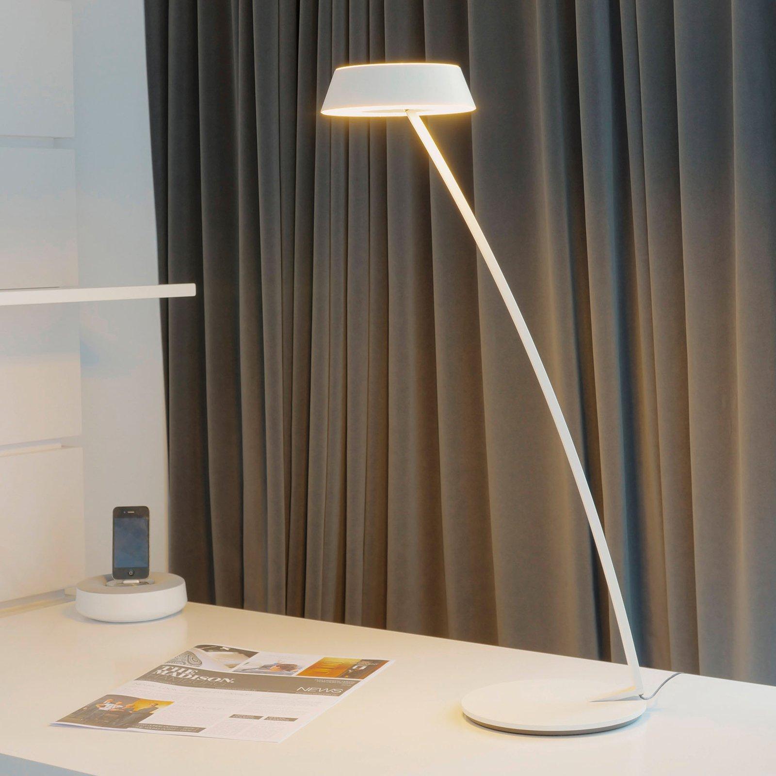 OLIGO Glance LED-bordlampe bøyd, hvit matt