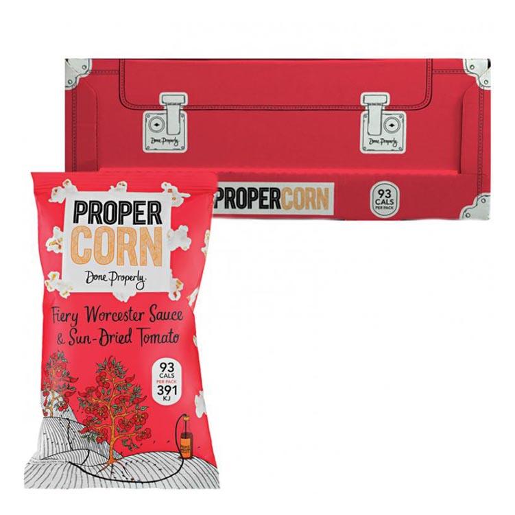 "Hel Låda Popcorn ""Fiery Worcester & Sundried Tomato"" 24 x 20g - 71% rabatt"