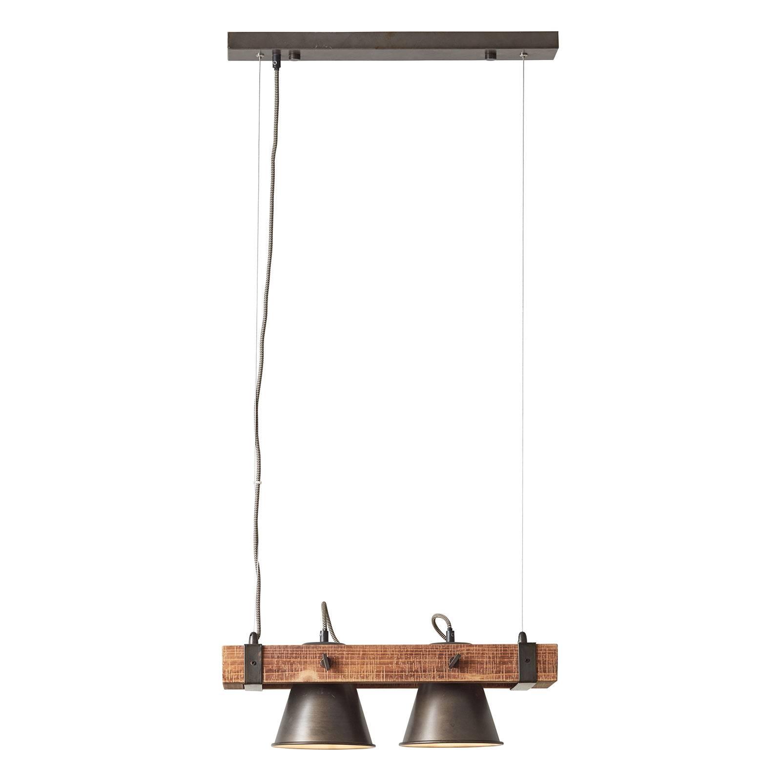 Riippuvalo Plow 2-lamppuinen, musta/puu tumma