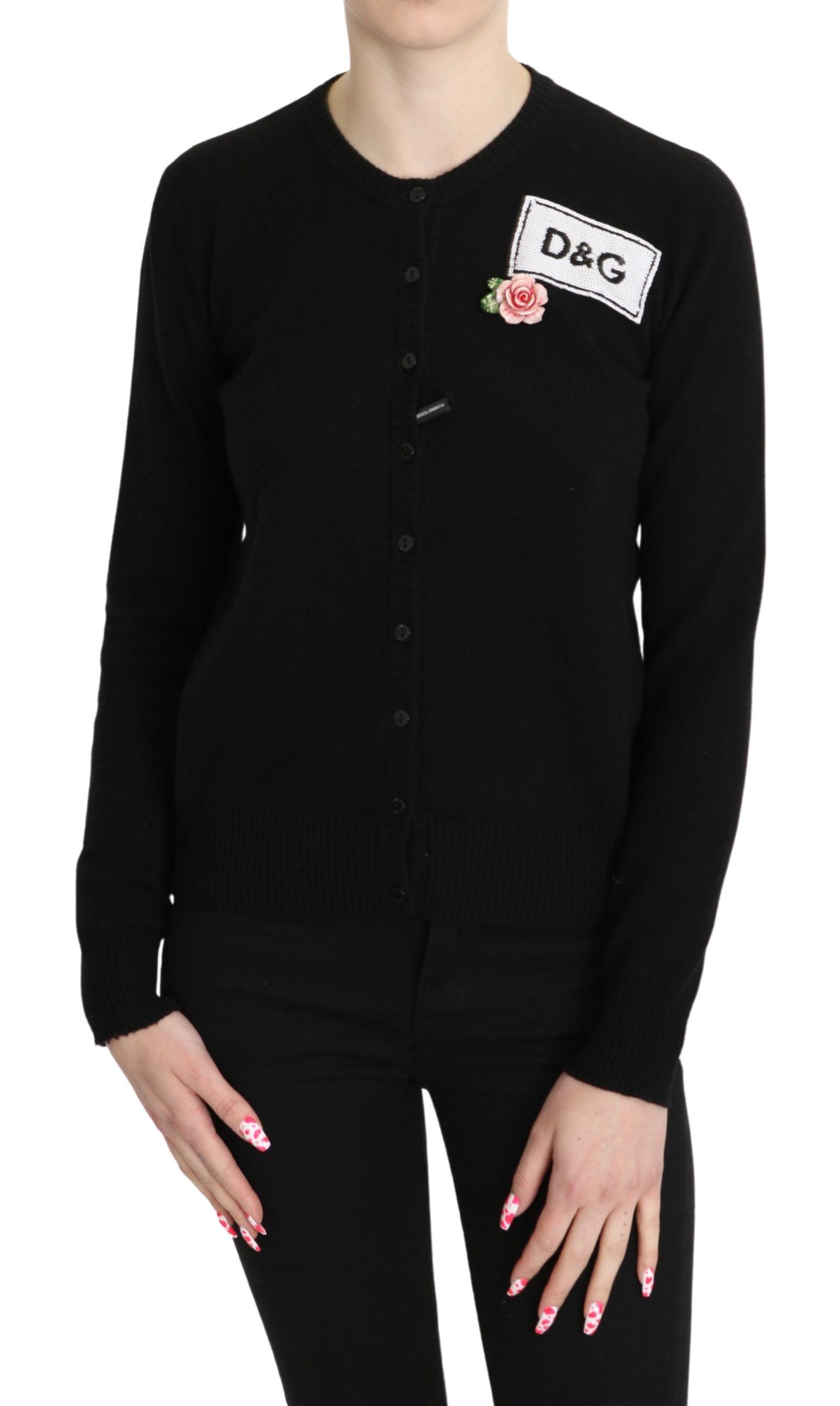 Dolce & Gabbana Women's Cashmere Roses Cardigan Black TSH5242 - IT38|XS