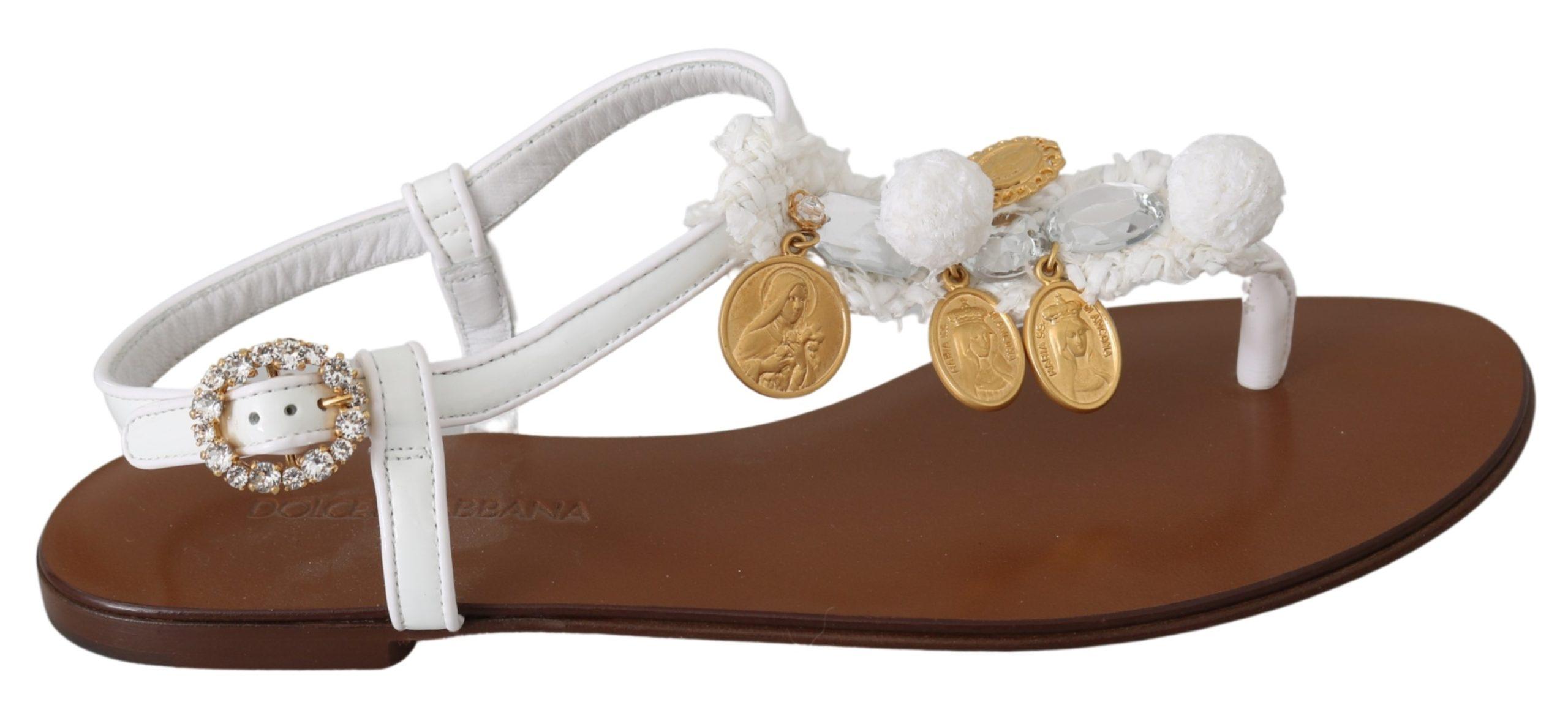 White Leather Coins Flip Flops Sandals Shoes - EU35/US4.5