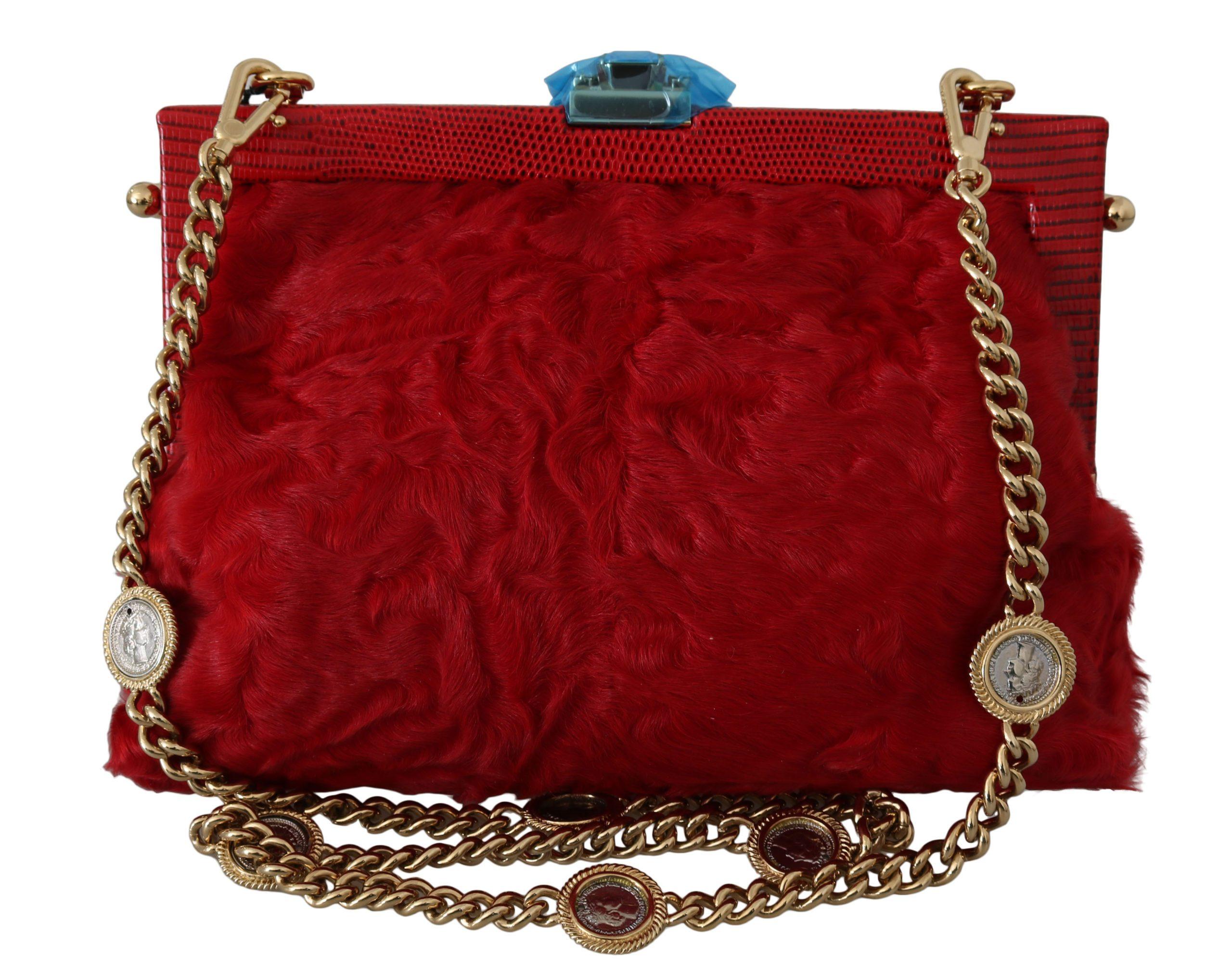 Dolce & Gabbana Women's Fur Brocade Crystal Shoulder Bag Red VAS8669
