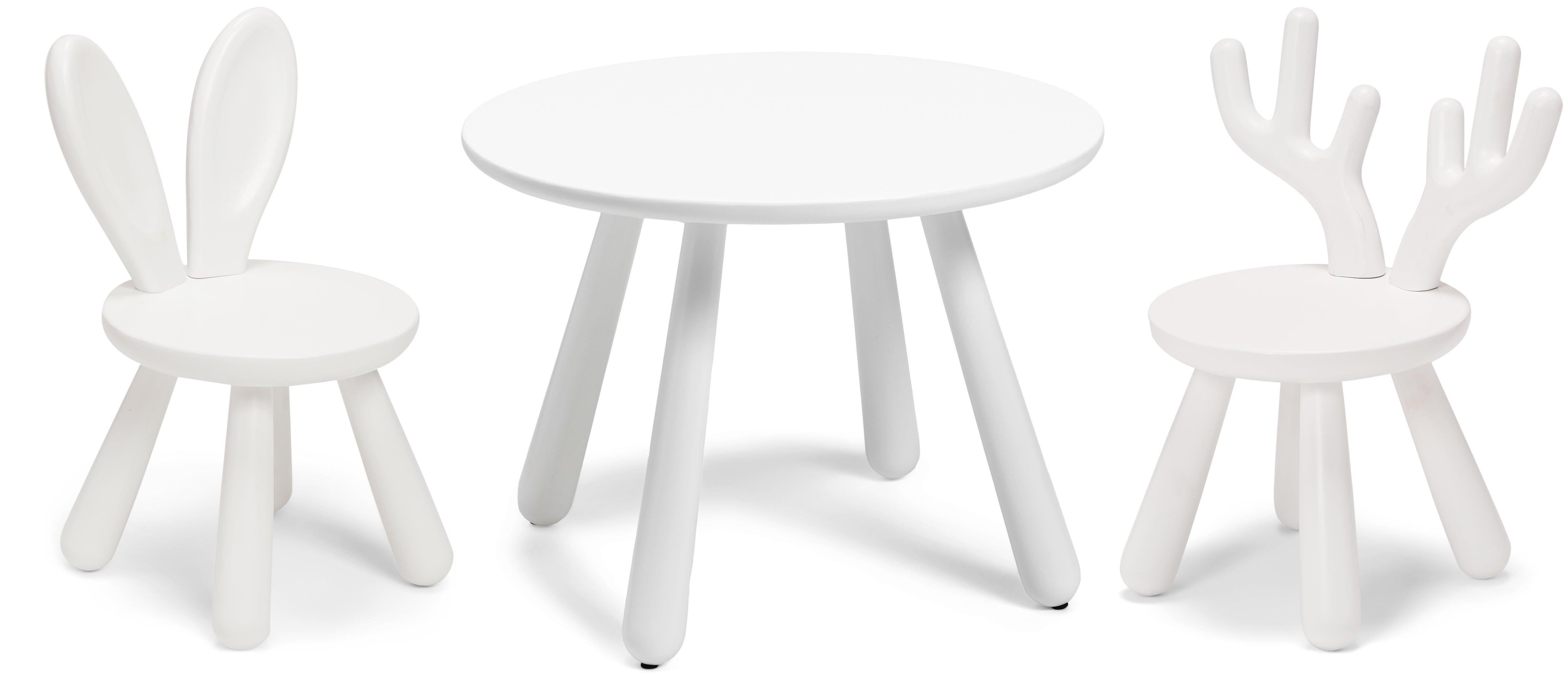 Minitude Nordic Usva Pöytä & Tuolit, Hirvi & Pupu, Valkoinen