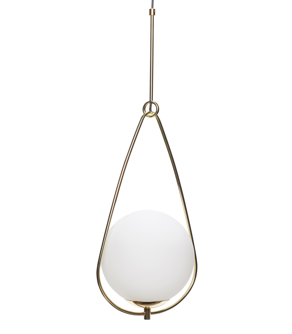 Glaslampa mässing vit kupa, Hubsch