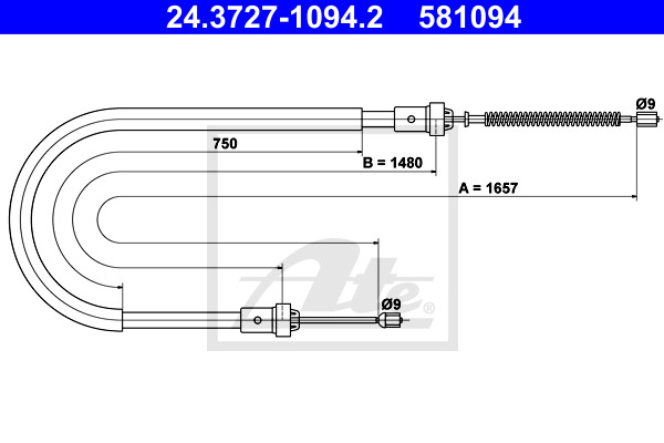 Cable, parking brake ATE 24.3727-1094.2