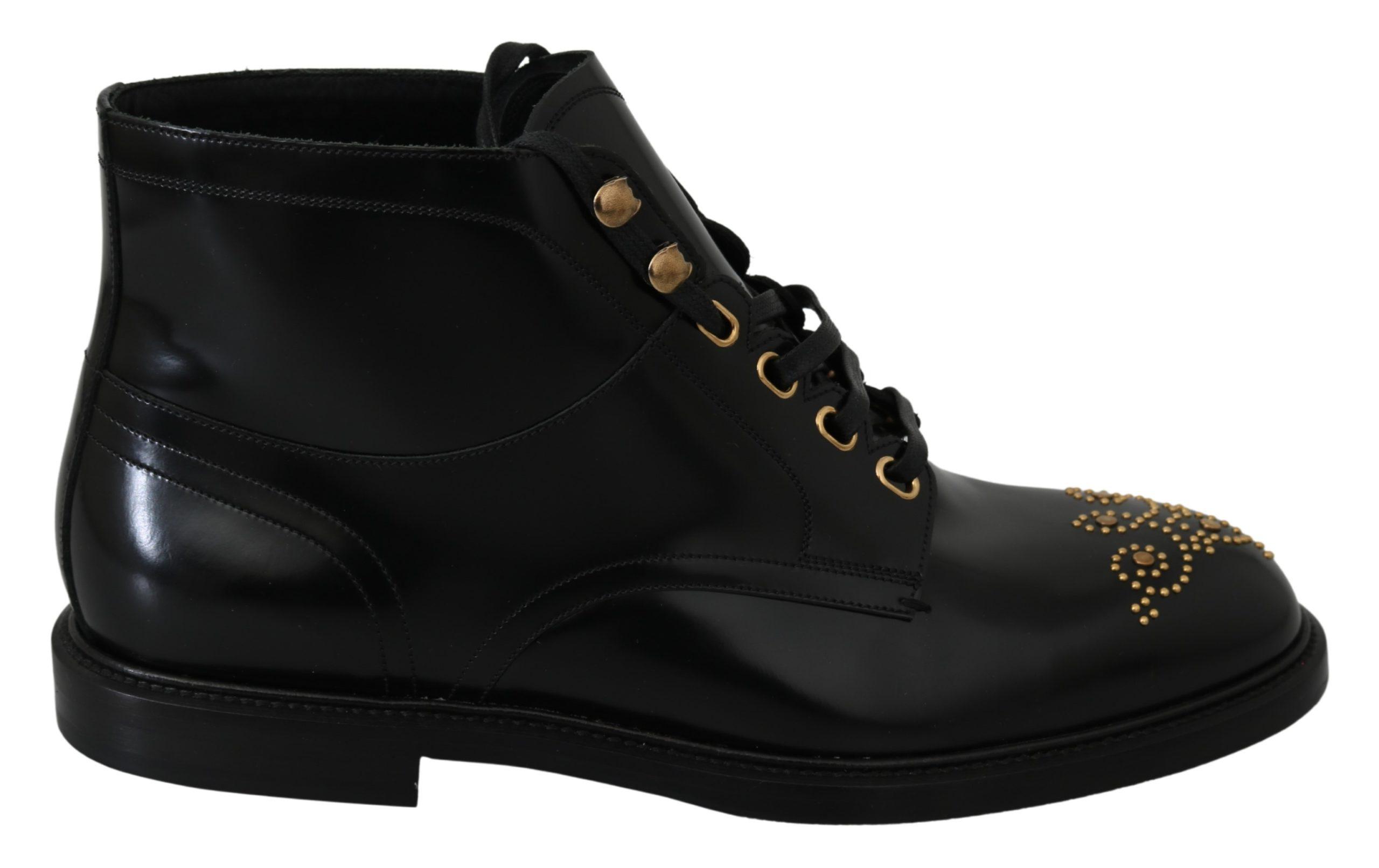 Dolce & Gabbana Men's Leather Lace Up Boot Black MV2821 - EU43/US10