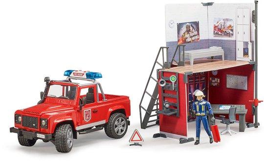 Bruder Bworld Brannstasjon med Land Rover Defender