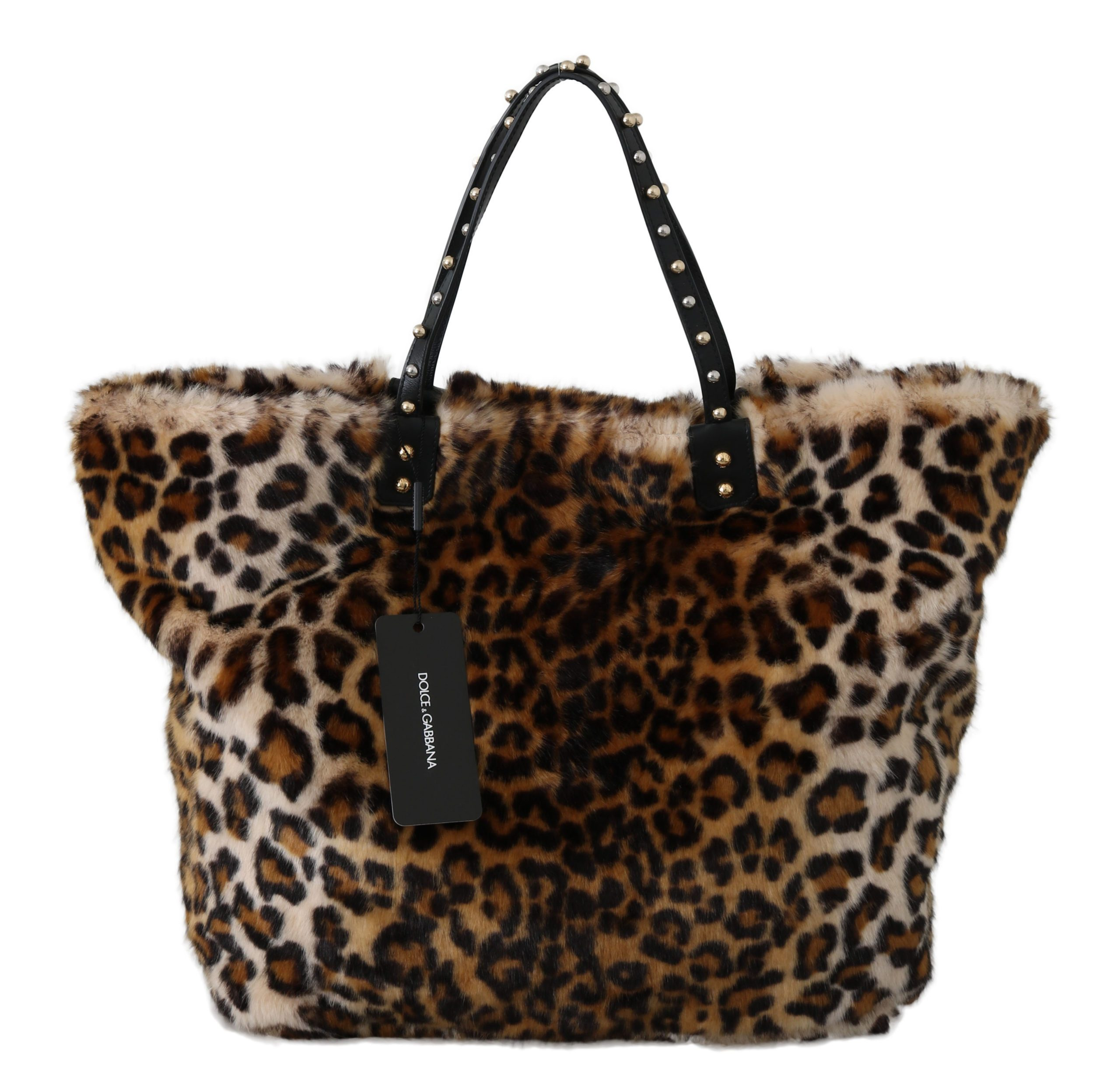 Dolce & Gabbana Women's Leopard Handbag Shopping Tote Bag Brown VAS8794