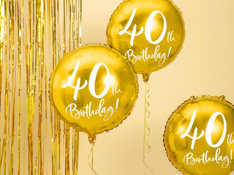40-års heliumballong guld
