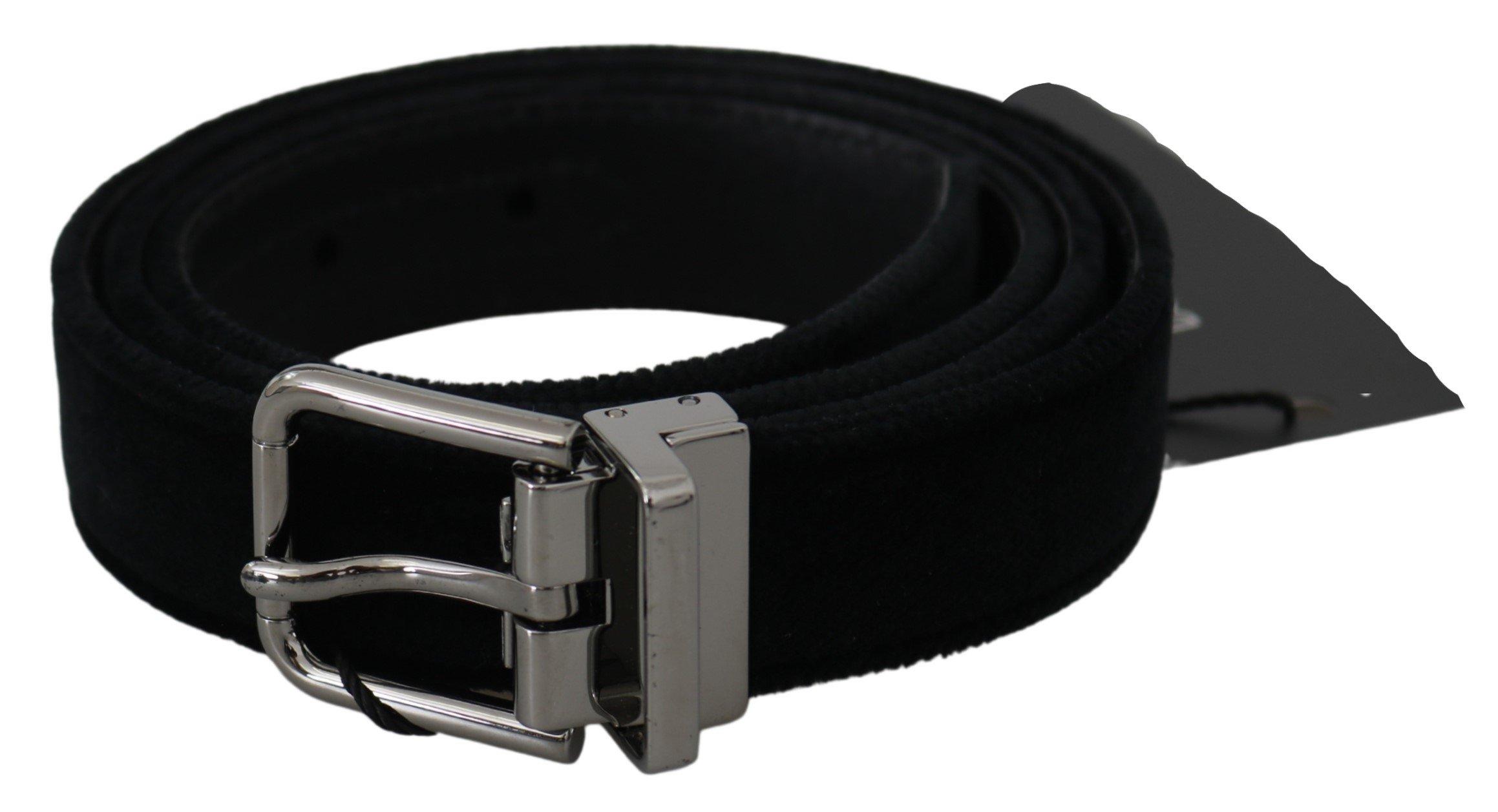 Black Velvet Leather Silver Buckle Belt - 115 cm / 46 Inches