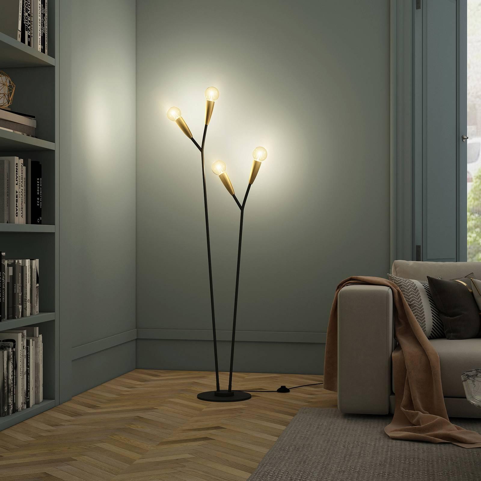 Lucande Carlea -lattiavalo, 4-lamp. musta-messinki