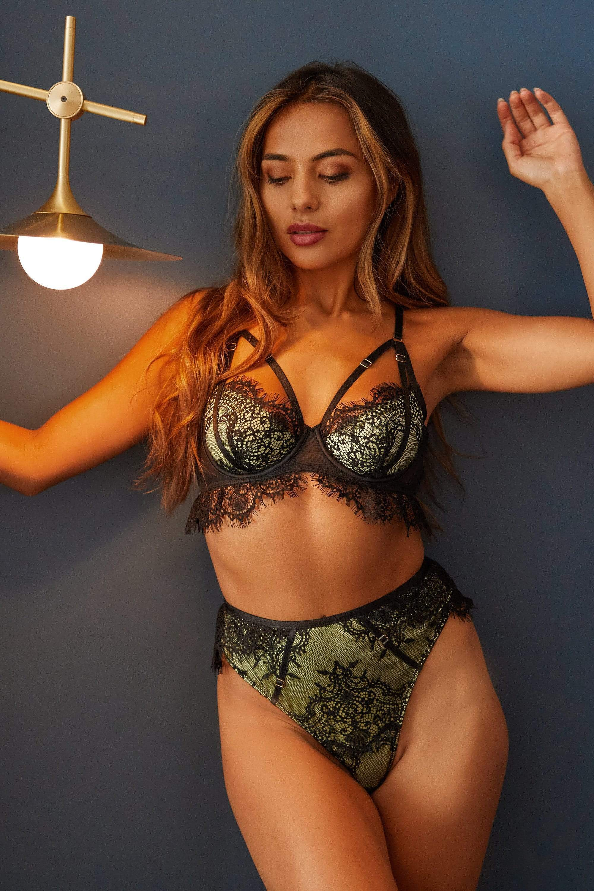 Wolf & Whistle Nora Lime Net and black embroidery bra 34F