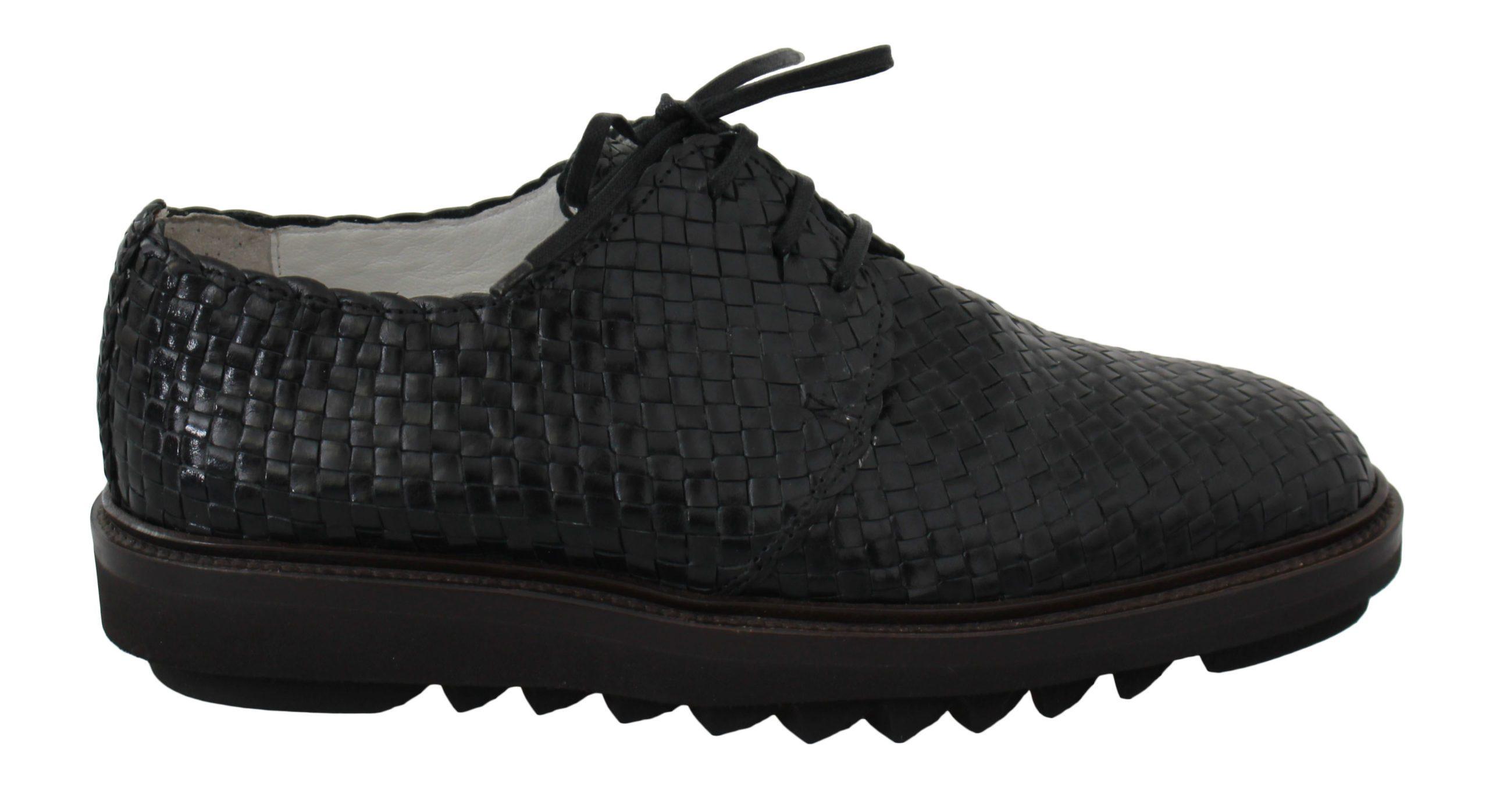 Dolce & Gabbana Men's Woven Knit Leather Derby Shoes Black MV2506 - EU39/US6