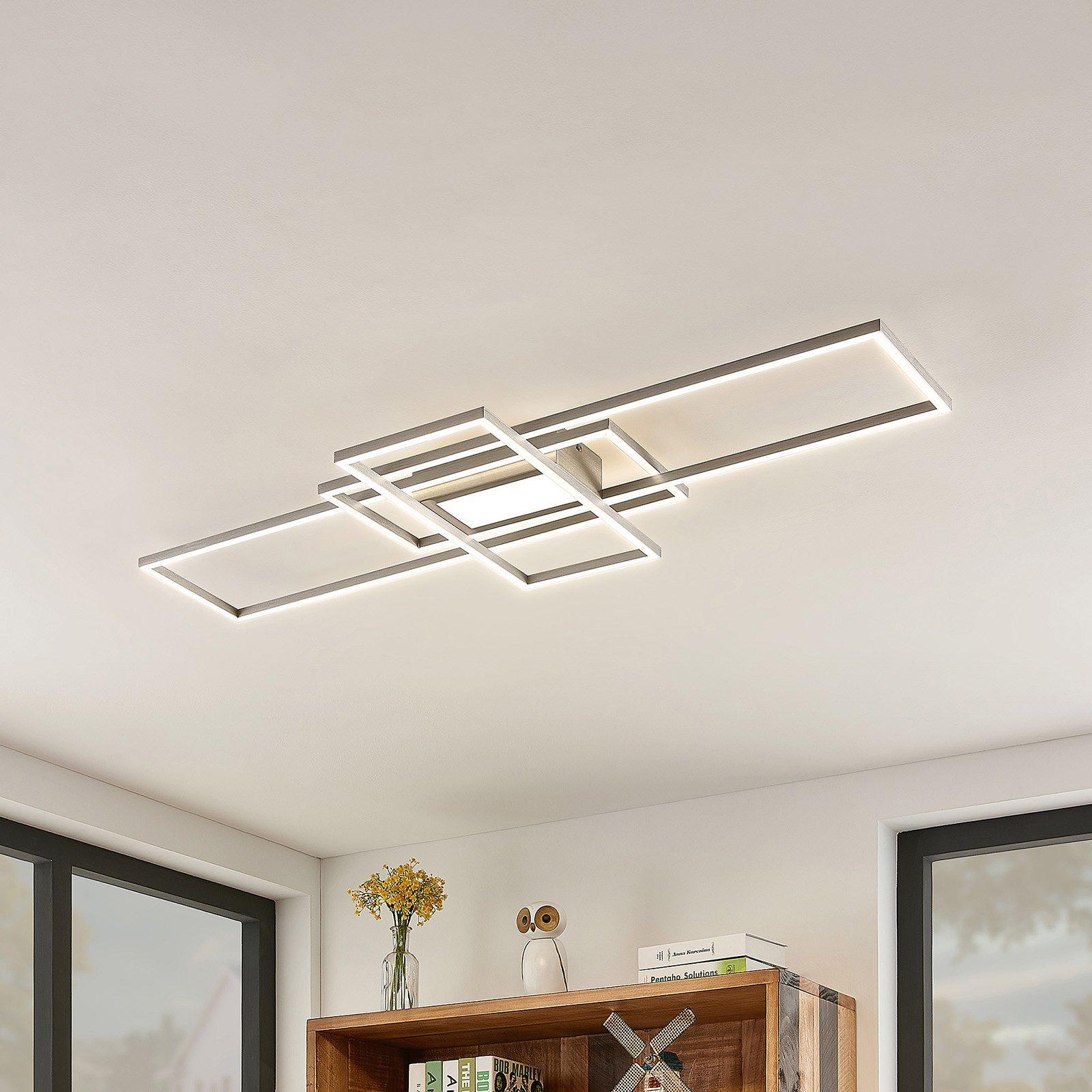 Lindby Mairin LED-taklampe, nikkel matt