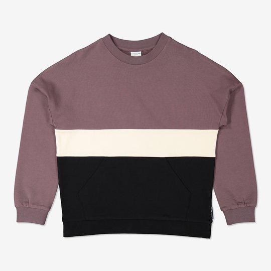 Sweatshirt med kengurulomme rødbrun